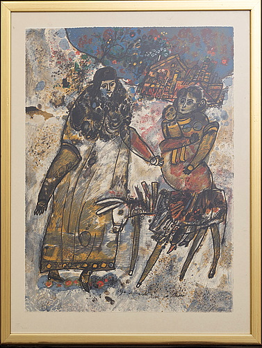 Theo tobiasse, a color lithograph, numbered 27/135 and  signed,