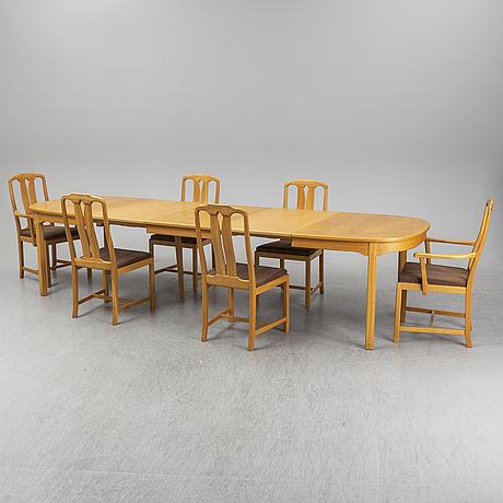 Carl malmsten, a seven-piece oak 'ambassadör' dining suite, Åfors möbelfabrik.