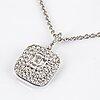 Baguette and brilliant-cut diamond necklace.