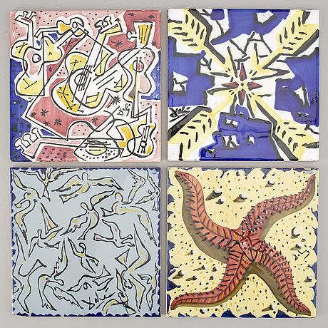 """Salvador dalÌ, after, set of six ceramic tiles, from """"la suite catalane"""", produced at el siglo, onda, spain, 1954."""