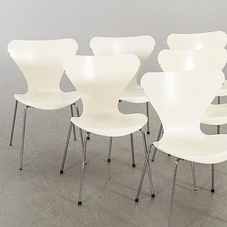 """Arne jacobsen, six danish """"sjuan"""" chairs for fritz hansen."""