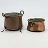Two copper pots with handles, latter half of the 19th century.