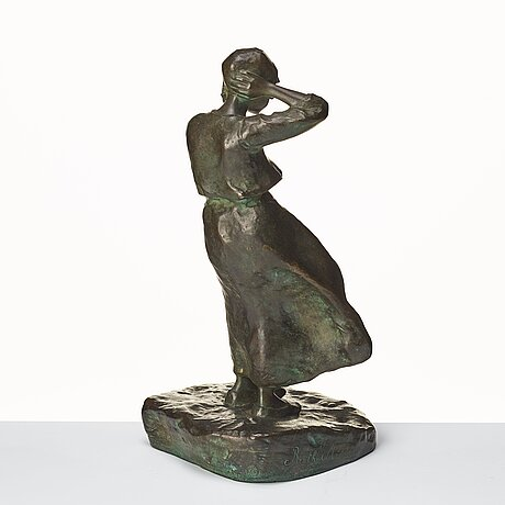 """Ruth milles, """"flicka i blåst"""" (=young woman in the wind)."""