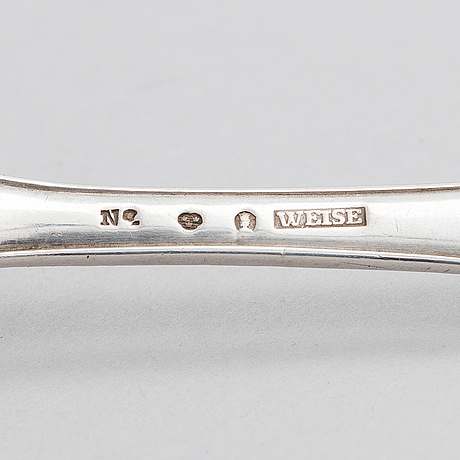 Anders fredrik weise, a pair of late 18th-century silver spoons, mark of weise, stockholm 1795.