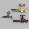 Vattenkranar, 3 st, brons, 1800-tal.