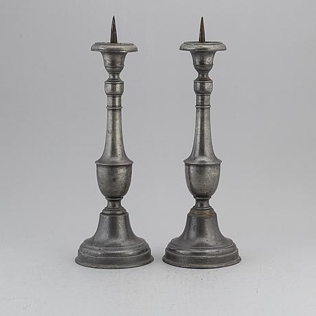 Ljusstakar, ett par, tenn, 1700-/1800-tal.