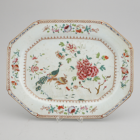 A 'double peacock' serving dish, qing dynasty, qianlong (1736-95).