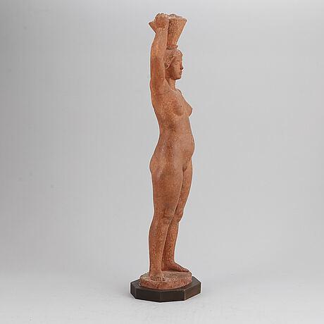 Eric grate, skulptur, patinerad gips, signerad.