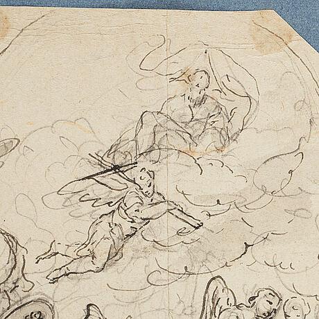 Tysk skola 1700-tal. osignerad. oktogonal. tuschlavering, bildyta 20 x 25,5 cm.