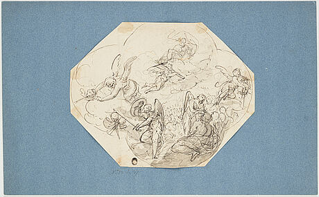 German school 18th century. the last judgement. unsigned. octagonal. inkwash, image: 20 x 25.5 cm, relined...