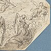 German school 18th century. unsigned. octagonal. inkwash, image: 20 x 25.5 cm. the last judgement. unsigned. octagonal. inkwash, image: 2...