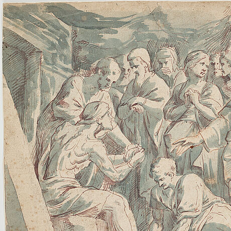 Peter paul rubens, follower of.  unsigned. watercolour and inkwash 25.5 x 33 cm.