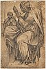 Michelangelo buonarroti, after. with initials mb. crayon 41 x 27 cm.
