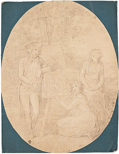 Angelica kauffman circle of, a young gentleman and two young ladies with a decorated box.