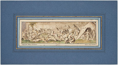 Hans johann rottenhammer d.Ä., circle of. with text a veronese. watercolour and inkwash, image: 8.5 x 30 cm.
