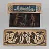 Överstycken, bl a målade, till speglar, 1700-/1800-tal.
