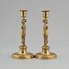 Ljusstakar, ett par, brons, sengustavianska, 1800-talets början.