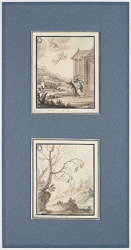 Unknown artist 17th century. with text: 'daniel de malinas'. (2). watercolour and inkwash 11.5 x 9.5 cm.