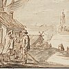 Mathys schoevaerdts circle of, mathys schoevaerdts, circle of. (2) unsigned. inkwash, each image 13.5 x 30 cm. skaters near a bakery and townsfolk near a fish stall. a p...