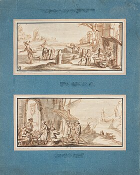 Mathys Schoevaerdts Circle of, Skaters near a Bakery and Townsfolk near a Fish Stall. A pair. Unsigned. Inkwash, each image 13.5 x 30 cm, framed...