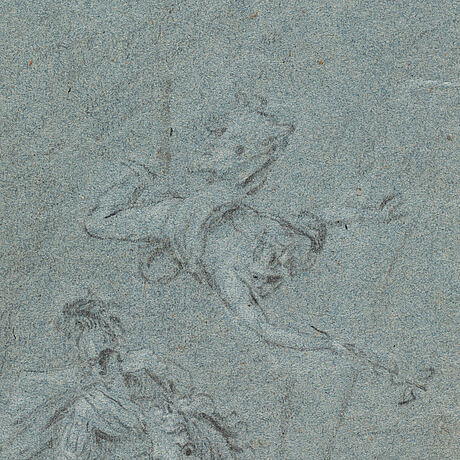 Giovanni antonio pellegrini, circle of. unsigned. crayon, image 27.5 x 27.5 cm.