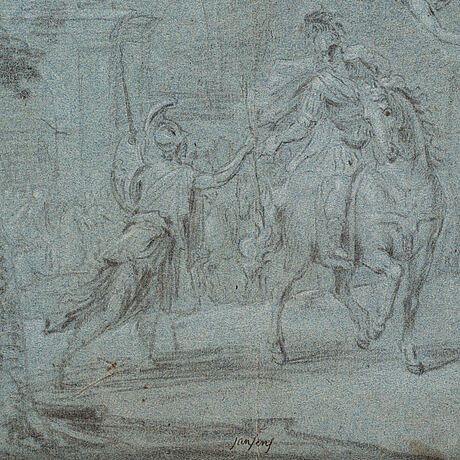 Giovanni antonio pellegrini, circle of. unsigned. crayon, image 27.5 x 27.5 cm.