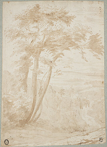 Jan frans van bloemen, circle of. unsigned. ink wash, image: 25.5 x 17.5 cm.
