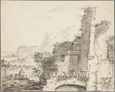 Jacobus sibrandi mancadan circle of, a ruined building with anglers nearby.