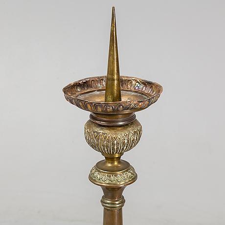 Golvljusstake, mässing och koppar, 1700-/1800-tal.