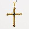 Cross 18k gold brilliant-cut diamonds approx 0,25 ct and 1 cabochon-cut sapphire.
