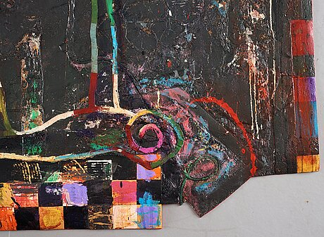 Terence la noue, mixed media, signed terence la noue and dated 1985-98 on verso.