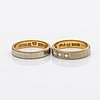 2 rings 18k gold, single-cut diamonds, 7,6 g, size 52.