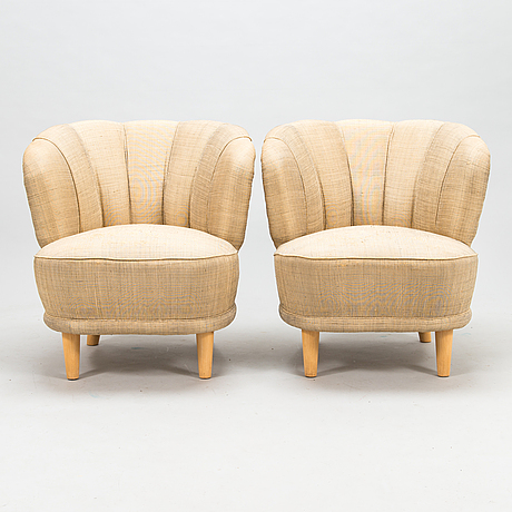 "A 1950s pair of armchairs ""elisabeth"" for asko finland."