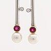 Earrings, 18k god, 2 rubies 0,86 ct, 2 brilant-cut diamonds 0,06 ct totalt, liljeroths juvelform malmö 2009.