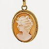 Pendant w chain and ring, 18k gold and shell cameos, length approx 54 cm, g dahlgren & co malmö 1962.