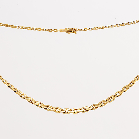 Goldchain, 18k gold, graduated filed curblink, 19,2 g, approx 45 x 0,5 cm, g dahlgren & co.