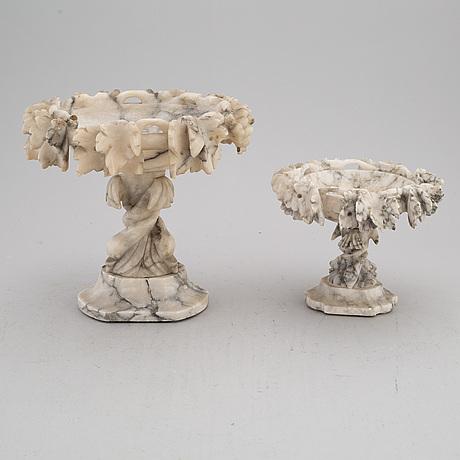 UppsatsskÅlar, två st, alabaster.