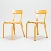 Alvar aalto, a table 82a and 6 chairs 69, artek, latter half of the 20th century.