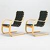 Alvar aalto, fåtöljer, ett par, modell 406, artek, 1900-talets slut.