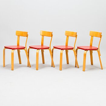 ALVAR AALTO, Four chairs 69 from 1960s for Artek.