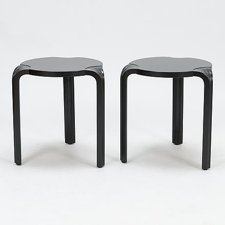Alvar aalto, a pair of late 20th century 'x600' stools for artek.