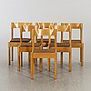 Vico magistretti, a set of six chairs.