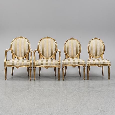 Stolar samt karmstolar, 2+2 st, gustaviansk stil, 1900-talets första hälft.