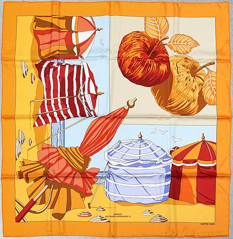 HermÈs, a 'charmes des plages normandes ii' silk scarf.