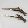 Two swedish percussion pistols 1850 cavalry pattern.