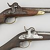 Two swedish percussion pistols 1850 cavalry pattern.