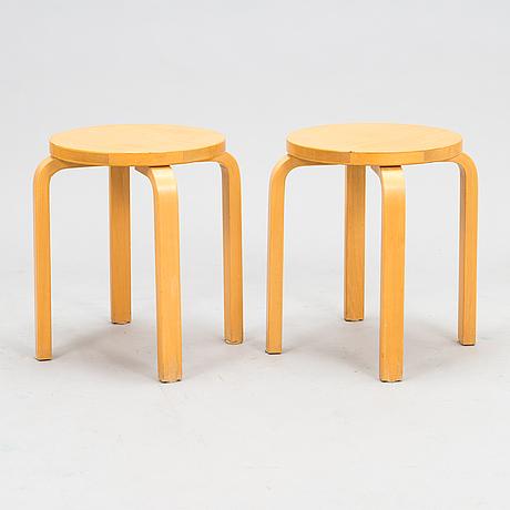 Alvar aalto, two late 20th century '60' stools for artek.