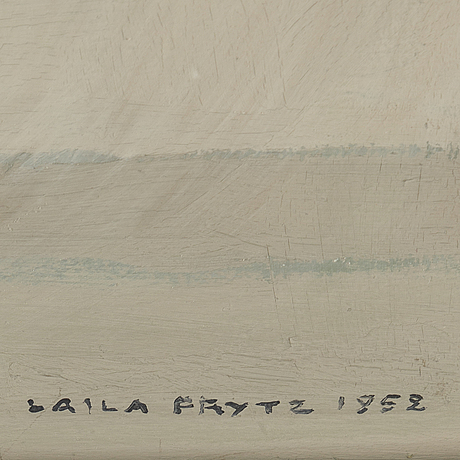 Laila prytz, oil on panel, signed and dated 1952.