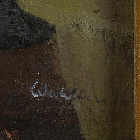 Bertil wahlberg, olja på pannå, signerad.