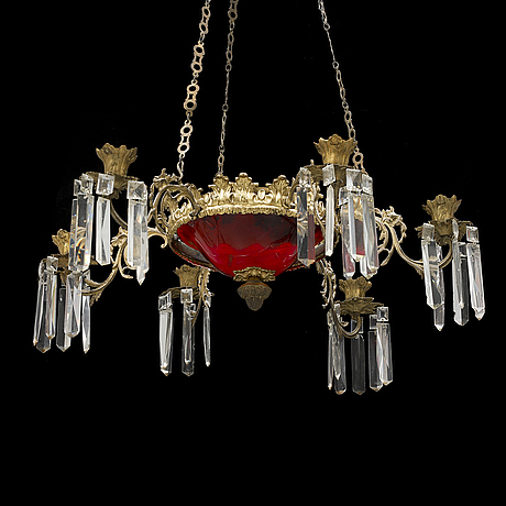 A red glass and brass chandalier, rococo style, 1860's.
